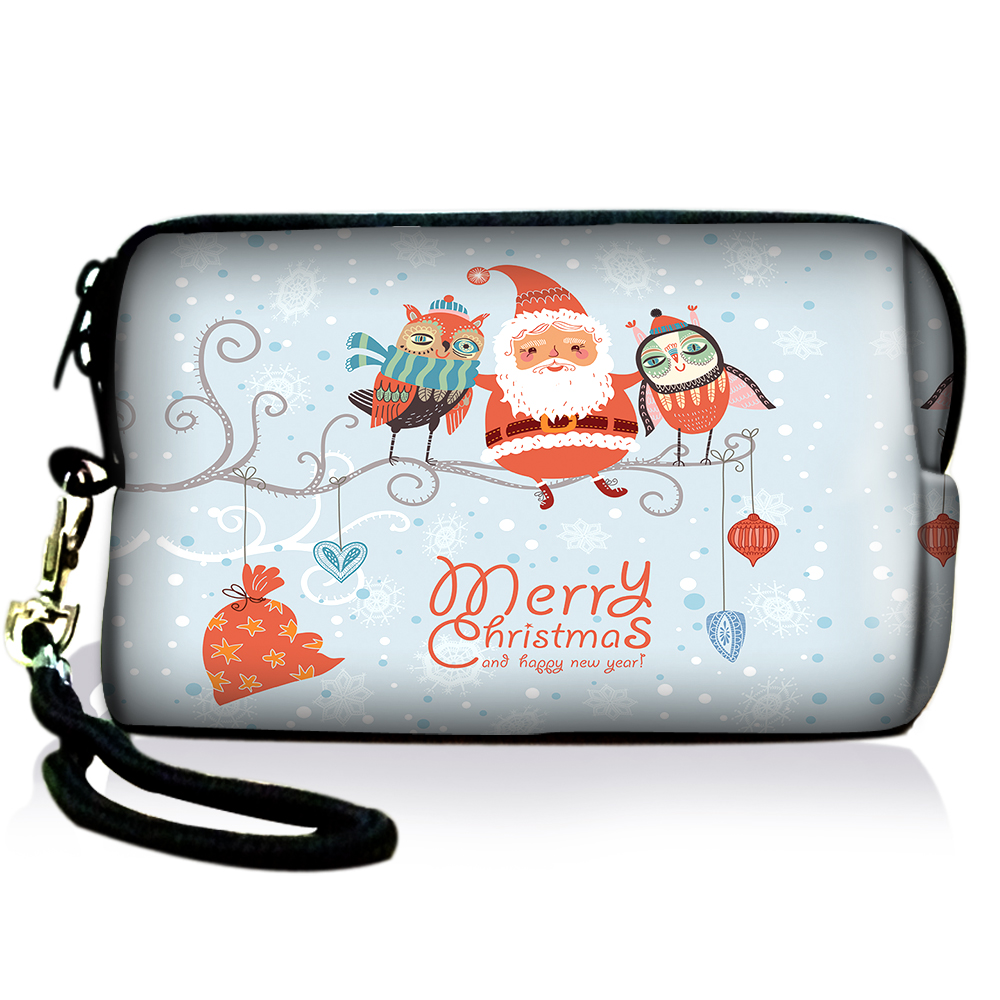 AUPET Christmas Design Digital Camera Case Bag Pouch Coin Purse with Strap For Sony Samsung Nikon Canon Kodak