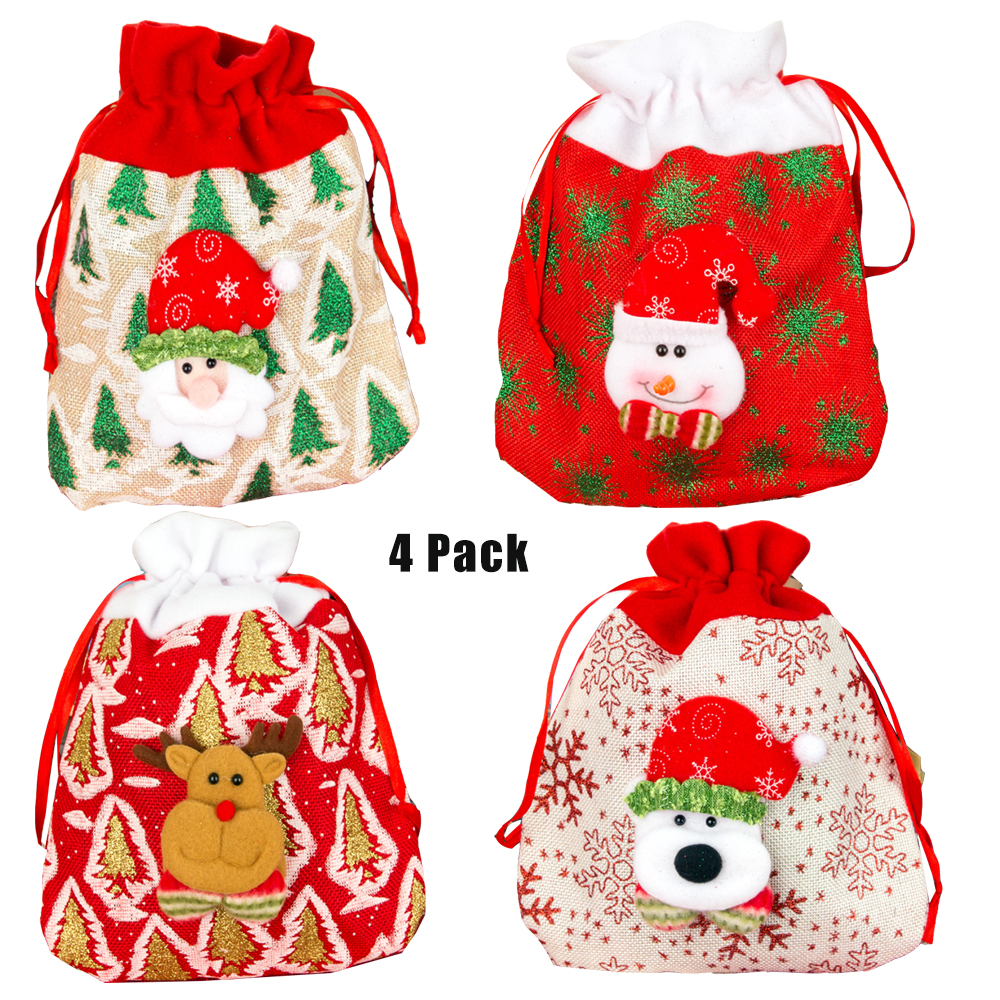 AUPET 4 Pack Christmas Gift Bags Santa Sacks Drawstring Toys Holder Kids Candy Bags Portable Christmas Handbag Santa Sack for Pa