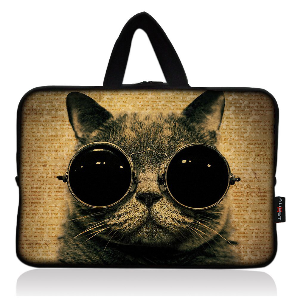 AUPET Cool Cat with Glasses Universal 7~8 inch Tablet Portable Neoprene Zipper Carrying Sleeve Case Bag