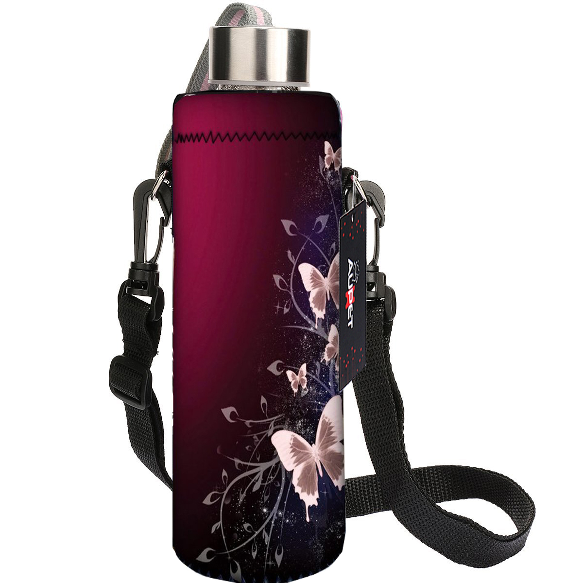 AUPET Red Butterfly 750ML Water Sport Bottle Cover Pouch Insulated Soft Sleeve Holder Case +Shoulder Strap 750ML:PBC-035