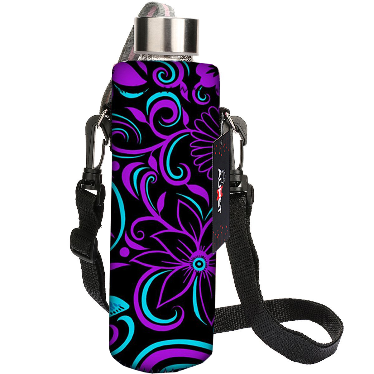 AUPET Purple Flower 750ML Insulated Water Bottle Cover Case Sleeve Pouch bag Holder + Shoulder Strap 750ML:PBC-048